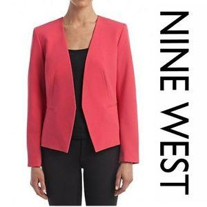 NWT Nine West Collarless Open Pink Blazer